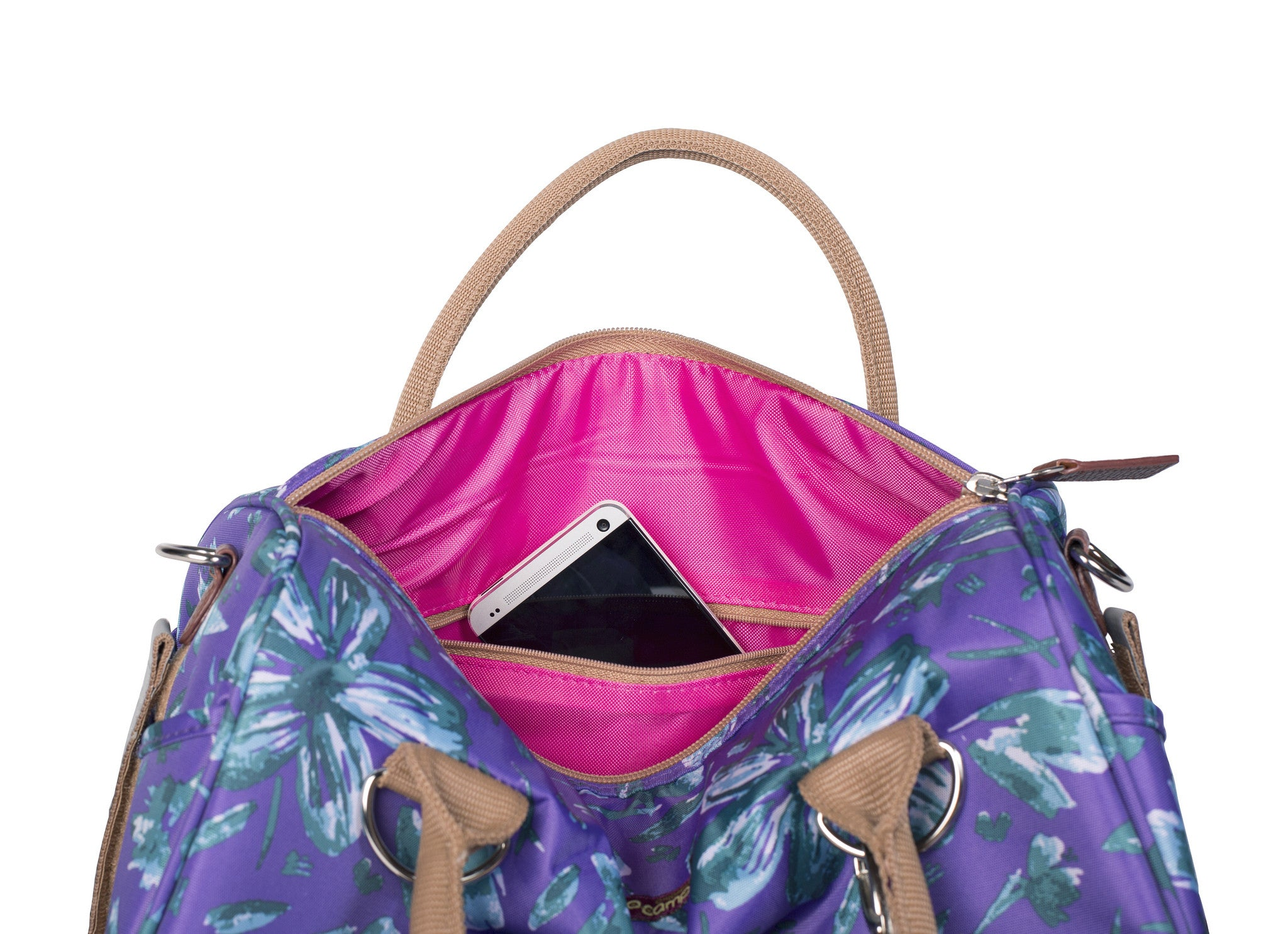 Po Campo Logan Trunk Bag in purple petals inside view of bag