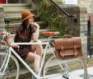 Hill and Ellis Mac Whiskey Tan Leather Pannier on a bicycle with Model