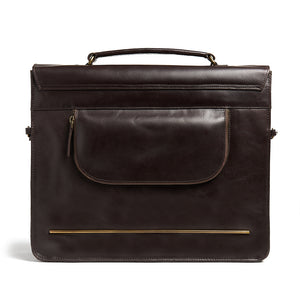 Bunbury Classic dark brown Leather Satchel back view