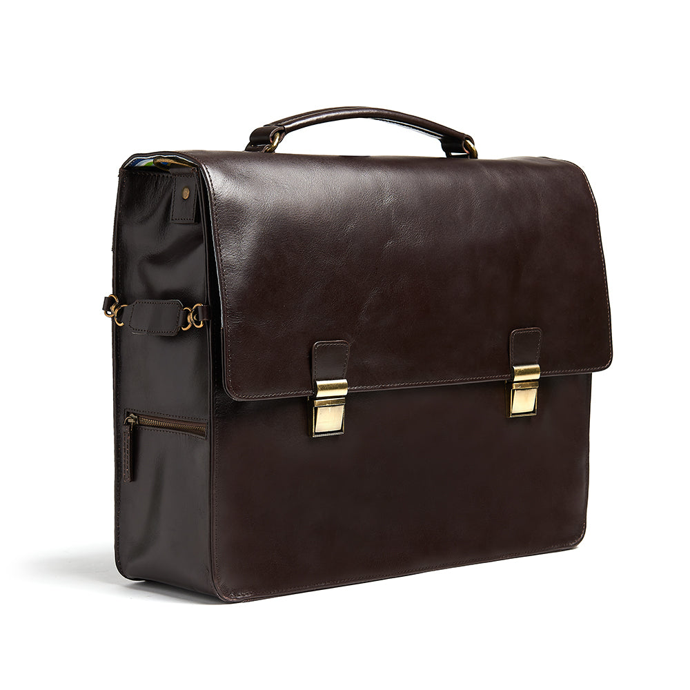 Bunbury Classic dark brown Leather Satchel side view