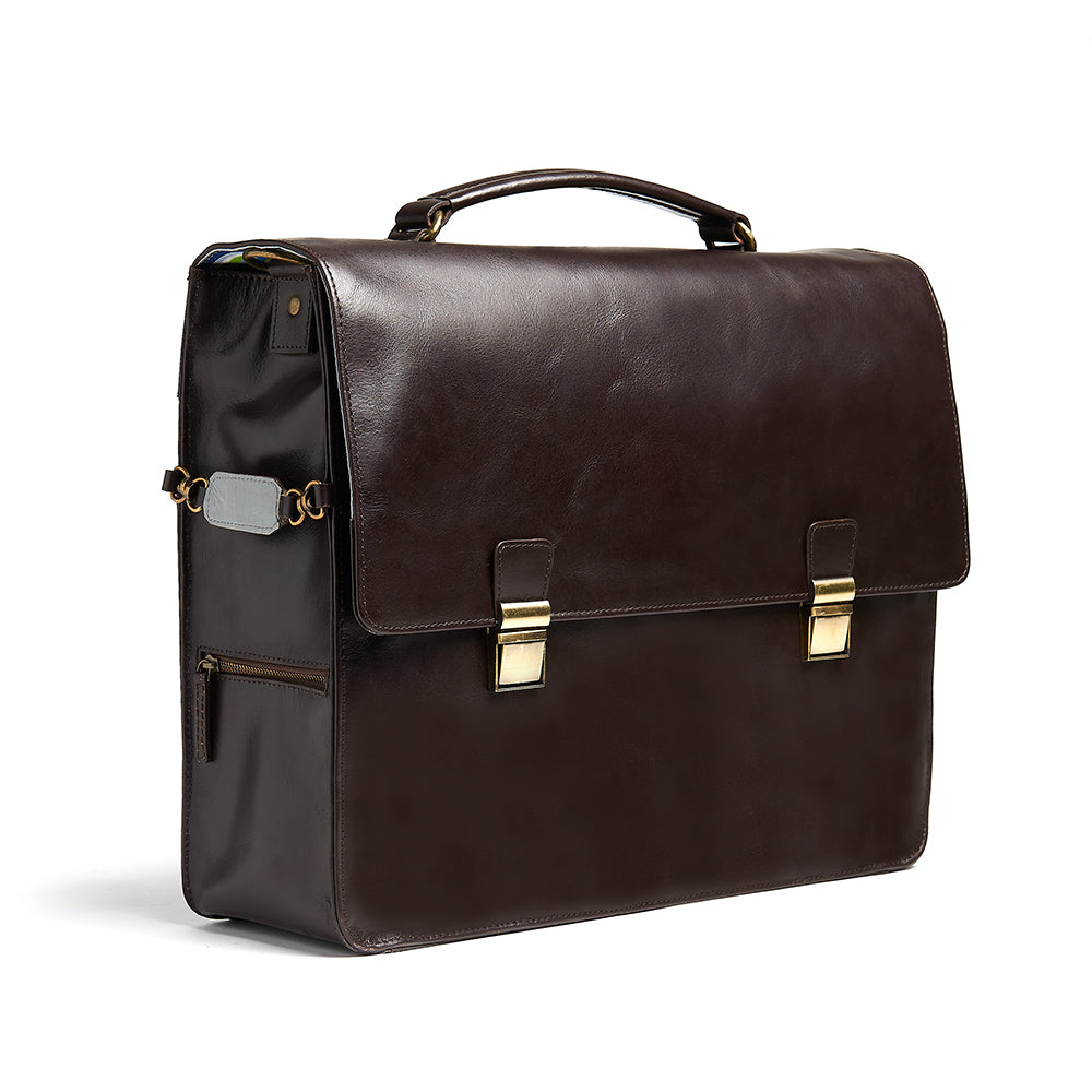 Bunbury Classic dark brown Leather Satchel side view showing reflective strip
