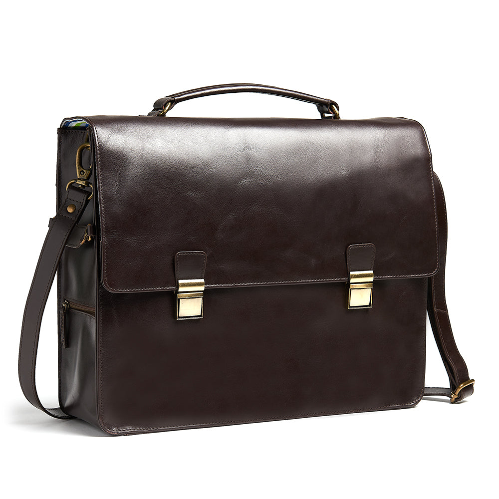 Bunbury Classic dark brown Leather Satchel front view