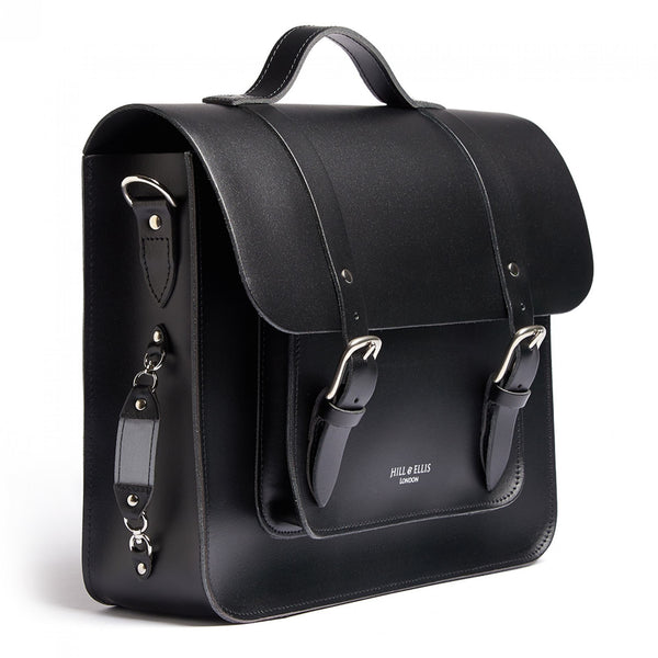 Byron | Black Leather Pannier & Satchel