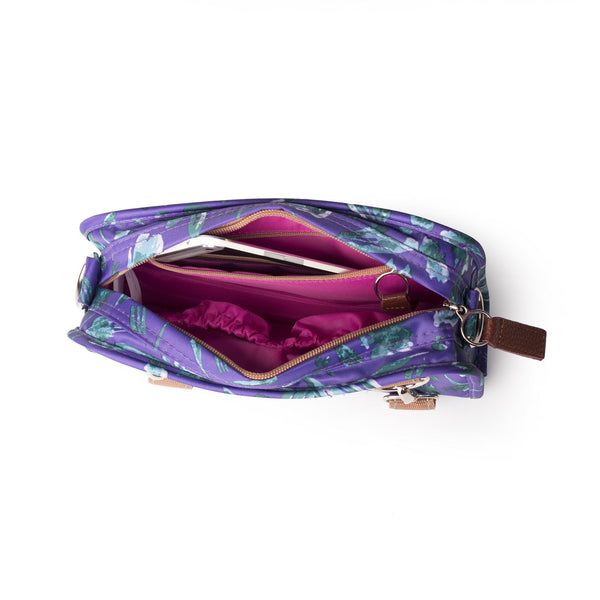 Po Campo Six Corners Wristlet purple petals top view of inside of wristlet