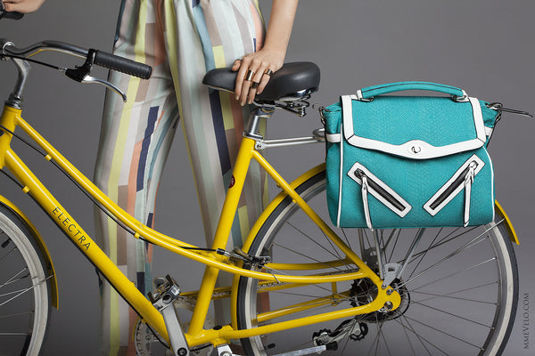 Teal Wish Bicycle bag. Looks as good off the bike as on. Your girlfriends will never know this bag was meant for the bicycle. Ride in Style and get your bag today! Mme Velo bags at Le Velo Victoria