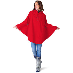 Red Rain Poncho waterproof with model showing front