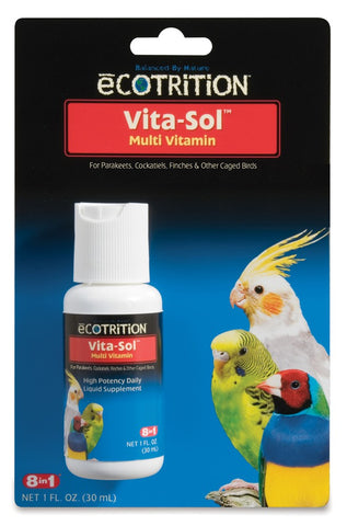 8 in 1 Ecotrition Vita-Sol Bird Multivitamins 1oz
