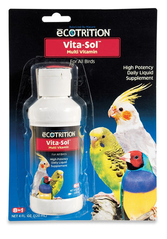 8 in 1 Ecotrition Vita-Sol Bird Multivitamins 4oz