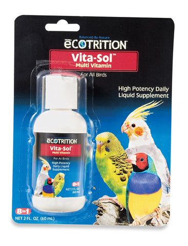 8 in 1 Ecotrition Vita-Sol Multi-Vitamin Cockatiels Parakeets & Other 2oz