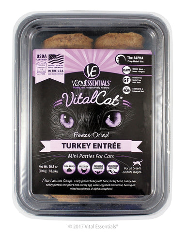 Vital Essentials Vital Cat Freeze-Dried Turkey Mini Patties Entre  10.5oz