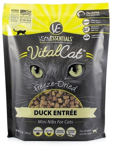 Vital Essentials Vital Cat Freeze-Dried Duck Mini Nibs Entrée  12oz
