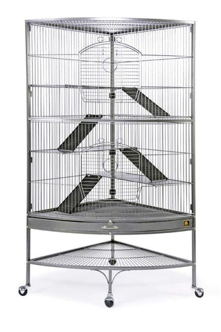 Prevue Pet Products Corner Ferret Cage on Casters Black 39x27x63