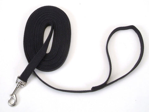 Coastal Train Right! Cotton Web Training Leash Black 5/8X20ft
