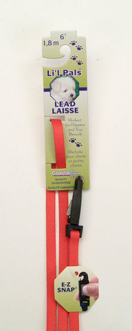 Coastal Li'l Pals Nylon Lead with E-Z Snap Red 5/16X6ft