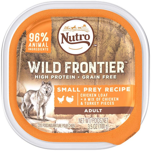 NUTRO Wild Frontier Small Prey Recipe Chicken Loaf With a Mix of Chicken and Turkey Pieces Dog Food Tray 3.5 Ounces   (Case of 24)