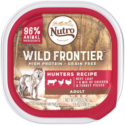 NUTRO Wild Frontier Hunters Recipe Beef Loaf With a Mix of Chicken and Turkey Pieces Dog Food Tray 3.5 Ounces   (Case of 24)