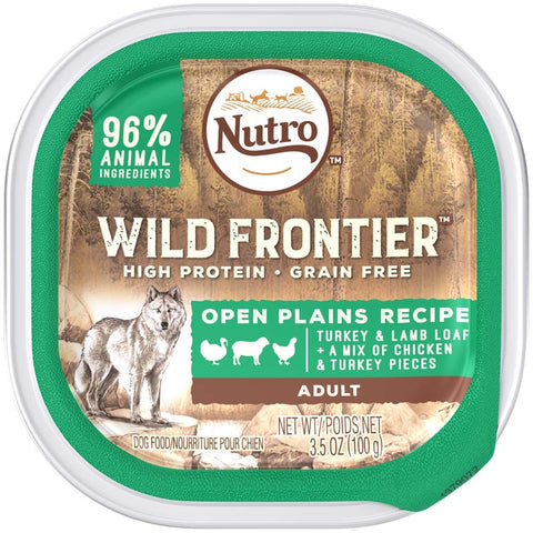 NUTRO Wild Frontier Open Plains Recipe Turkey and Lamb Loaf With a Mix of Chicken and Turkey Pieces Dog Food Tray 3.5 Ounces   (Case of 24)