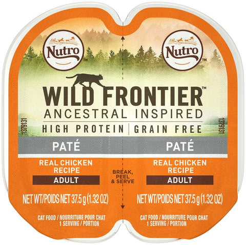 NUTRO WILD FRONTIER PERFECT PORTIONS Pate Real Chicken Wet Cat Food Tray 2.65 Ounces   (Case of 24)