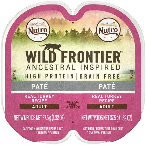 NUTRO WILD FRONTIER PERFECT PORTIONS Pate Real Turkey Wet Cat Food Tray 2.65 Ounces     (Case of 24)