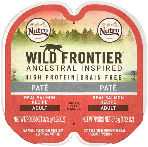 NUTRO WILD FRONTIER PERFECT PORTIONS Pate Real Salmon Wet Cat Food Tray 2.65 Ounces   (Case of 24)