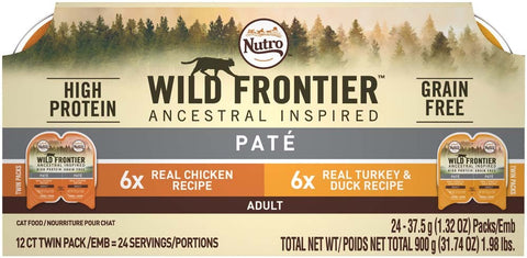 NUTRO WILD FRONTIER PERFECT PORTIONS Pate Multi-Pack Real Chicken and Turkey & Duck Wet Cat Food Trays 2.65 Ounces (12 Twin Packs)