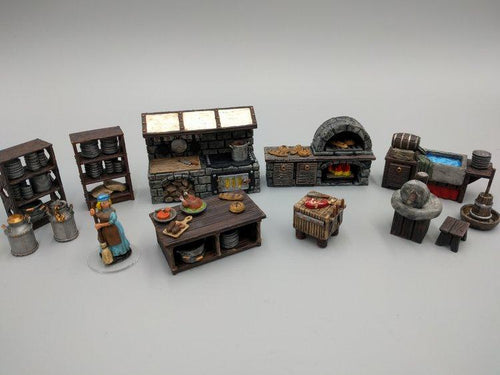 Inn and Tavern Set 2: Kitchen and Food Wargaming Terrain Warhammer Terrain