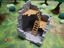 Load image into Gallery viewer, Ruined Tall Tower Stone Floor Trapdoor Wargaming Terrain Warhammer Terrain