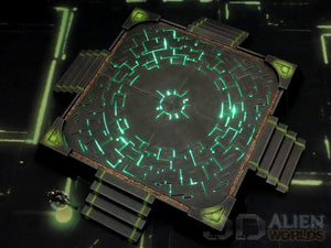 necron terrain landing pad in black that glows green