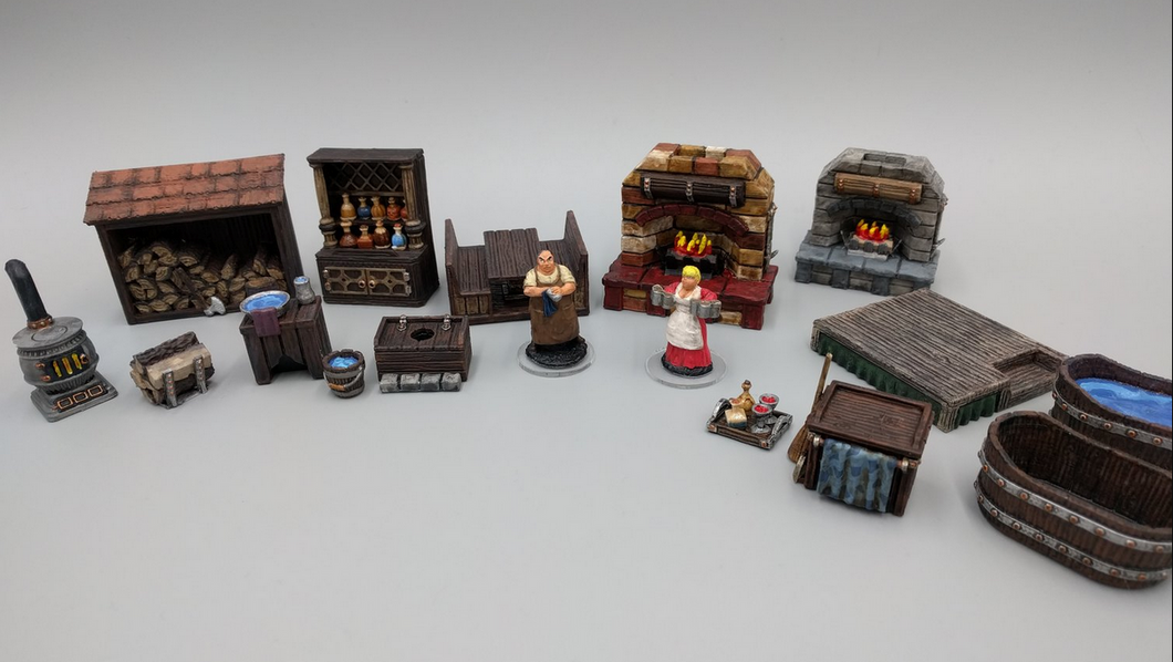 Inn and Tavern Set 1: Common Room and Upstairs Wargaming Terrain Warhammer Terrain