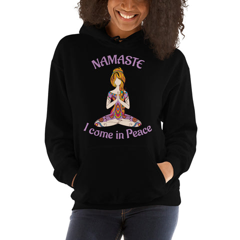 Image of Namaste Cool Yoga Hooded Sweatshirt - I come in Peace