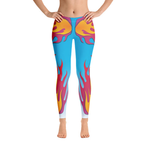 Blue Flaming Yoga Leggings