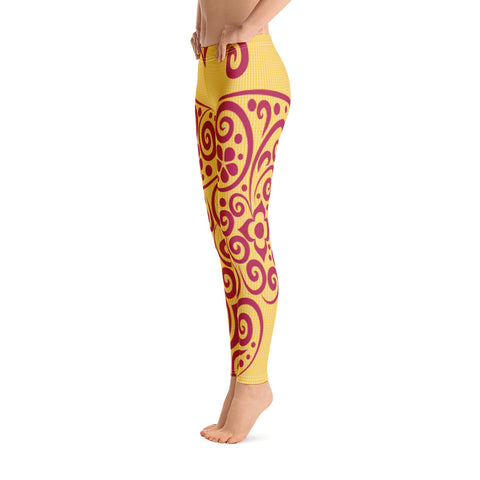 Yellow Red Butterfly Leggings