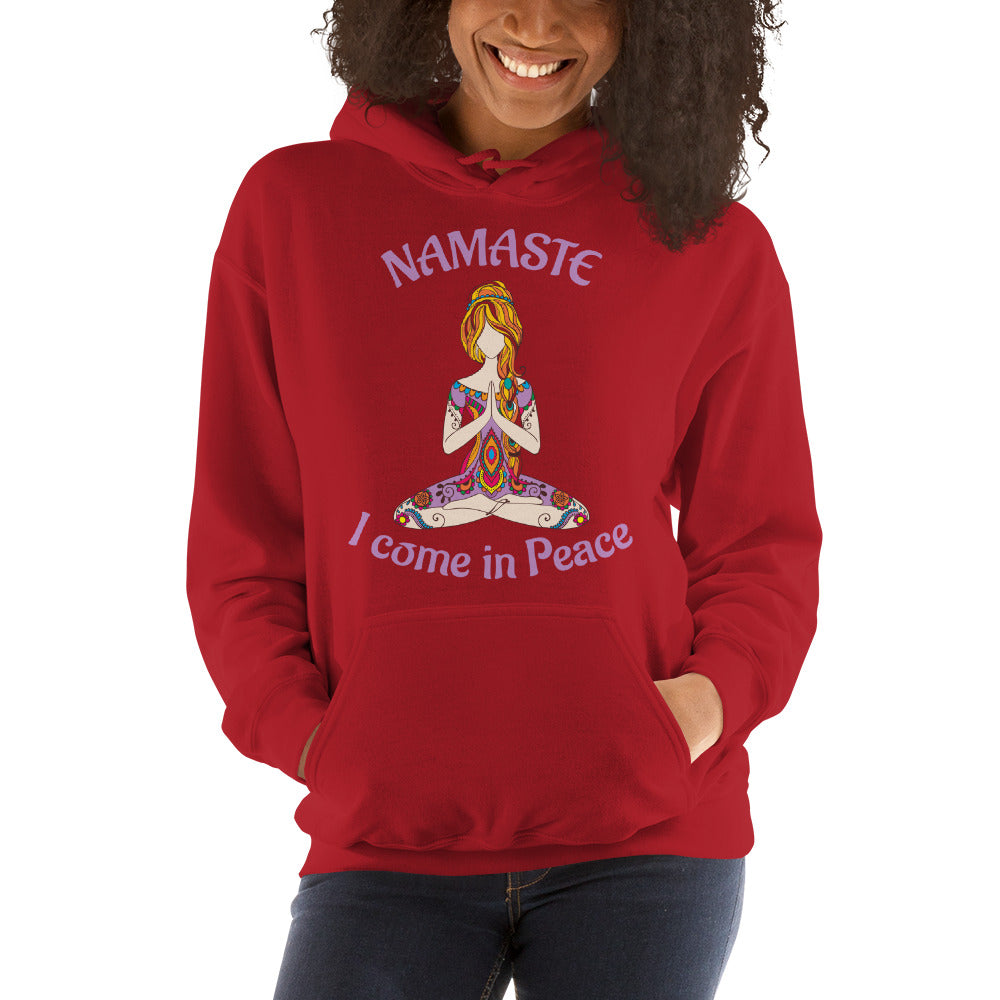 Namaste Cool Yoga Hooded Sweatshirt - I come in Peace