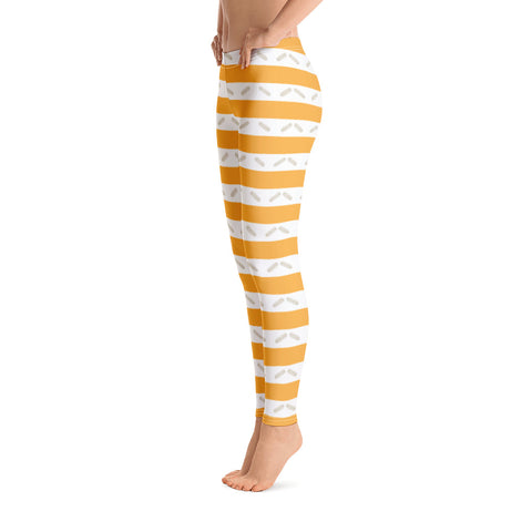 Image of Orange Striped Pattern Leggings