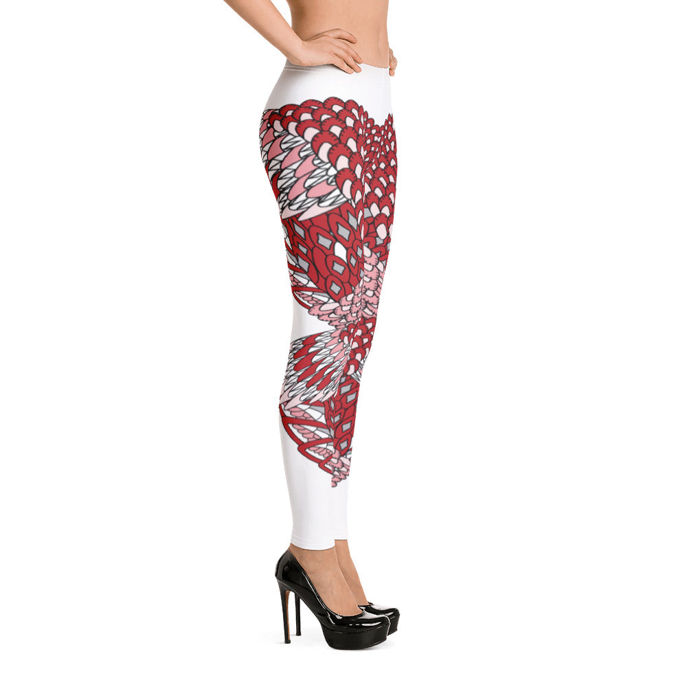 Eagle Heart Red Yoga Leggings