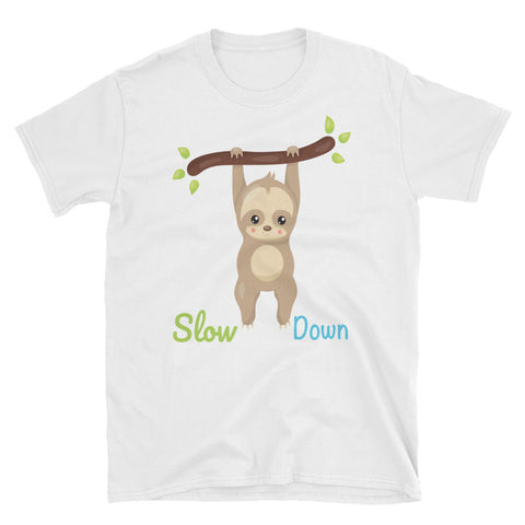 Image of Slow Down - Sloth Yogi Short-Sleeve Unisex T-Shirt