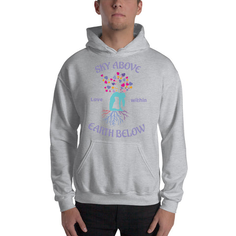 Image of Cool Yoga Shirt Hooded - Sky Above Earth Below - Love Within