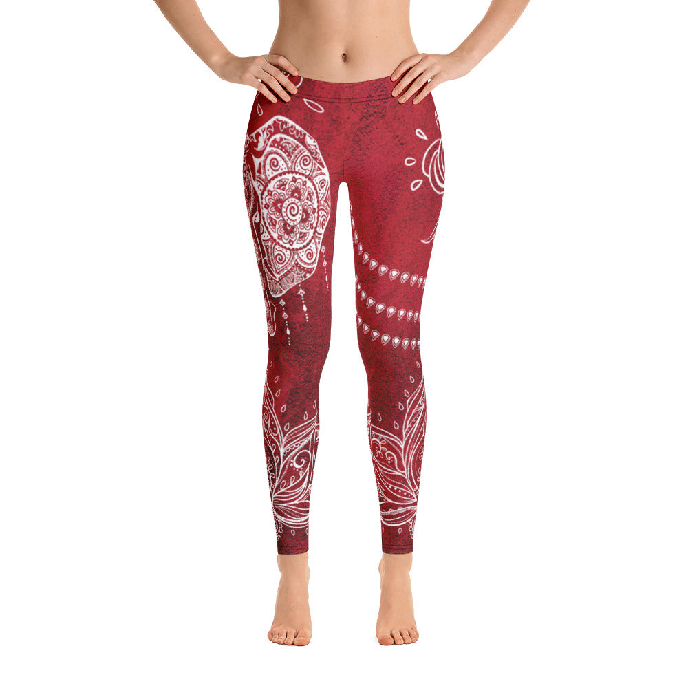 Dark Red Elephant Floral Yoga Leggings