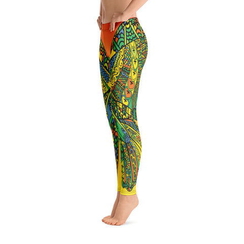 Butterfly Wings Orange Pattern Yoga Leggings