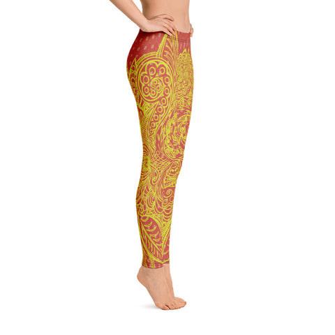 Image of Red Yellow Floral Yoga Leggings