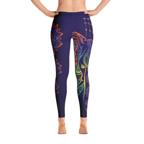 Ornamental Elephant Flower Dark Blue Yoga Leggings
