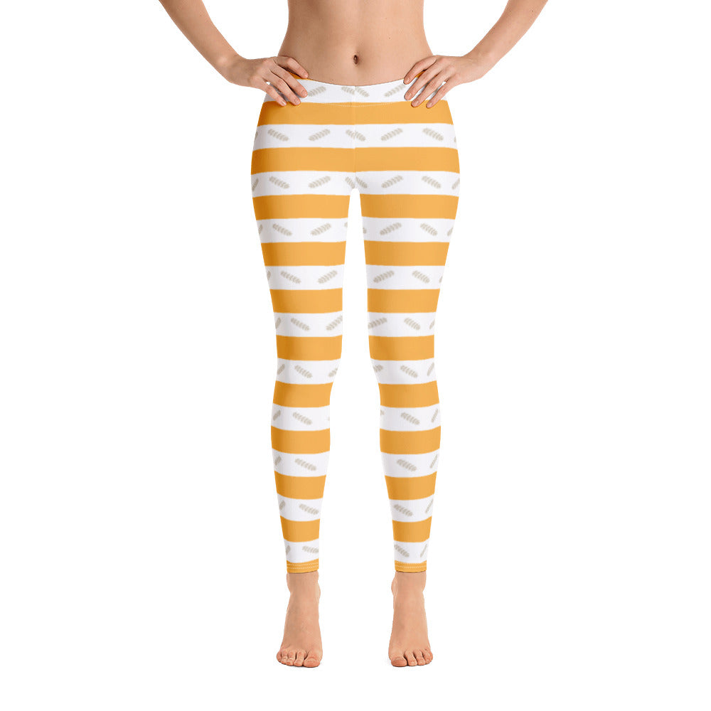 Orange Striped Pattern Leggings