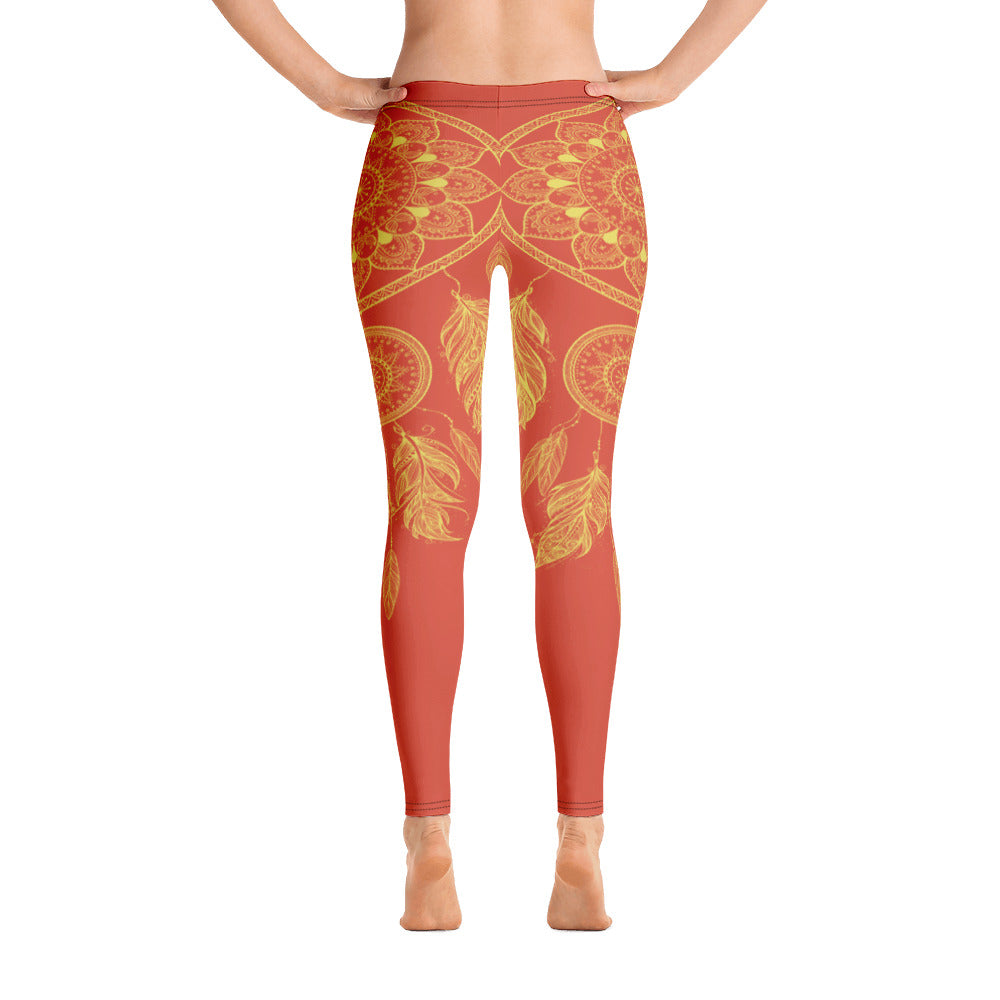 Orange Dream Catcher Yoga Leggings