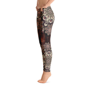 Brown Flower Mandala Leggings
