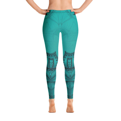 Dark Green Mandala Leggings