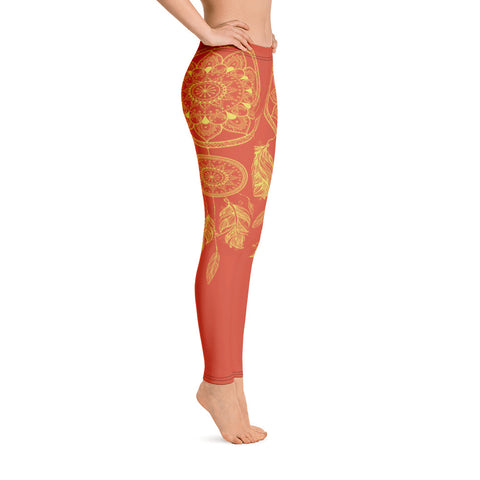 Image of Orange Dream Catcher Yoga Leggings