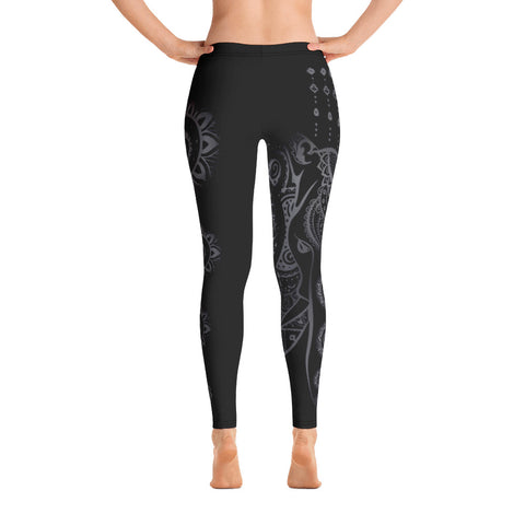 Dark Elephant Mandala Ornamental Yoga Leggings