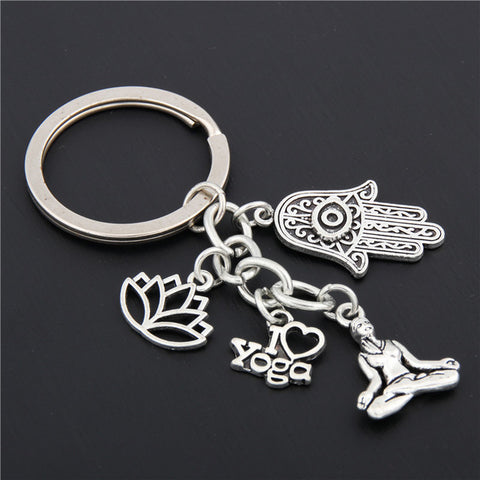 Image of Elephant | Hamsa | Yoga | Lotus Charms Keychain
