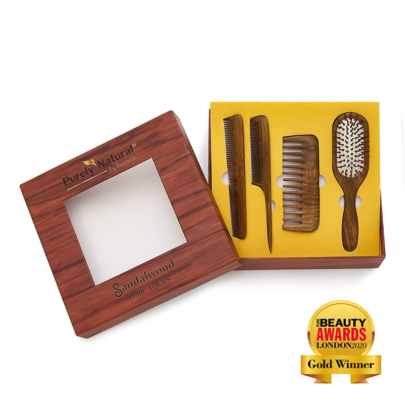 SANDALWOOD SIX COMB AND BRUSH SET