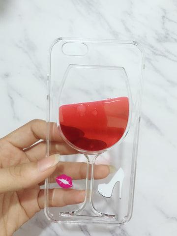 Red Wine Glass Transparent iPhone Case Cover for all iPhone versions